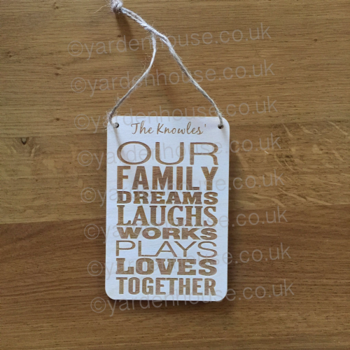 Our family Personalised plaque